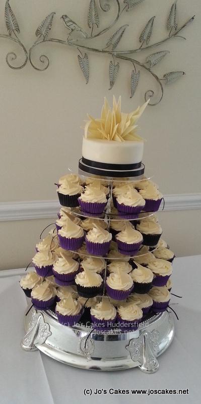 Cadburys Purple and Black Wedding Cupcake Tower   White Rose Cake ...