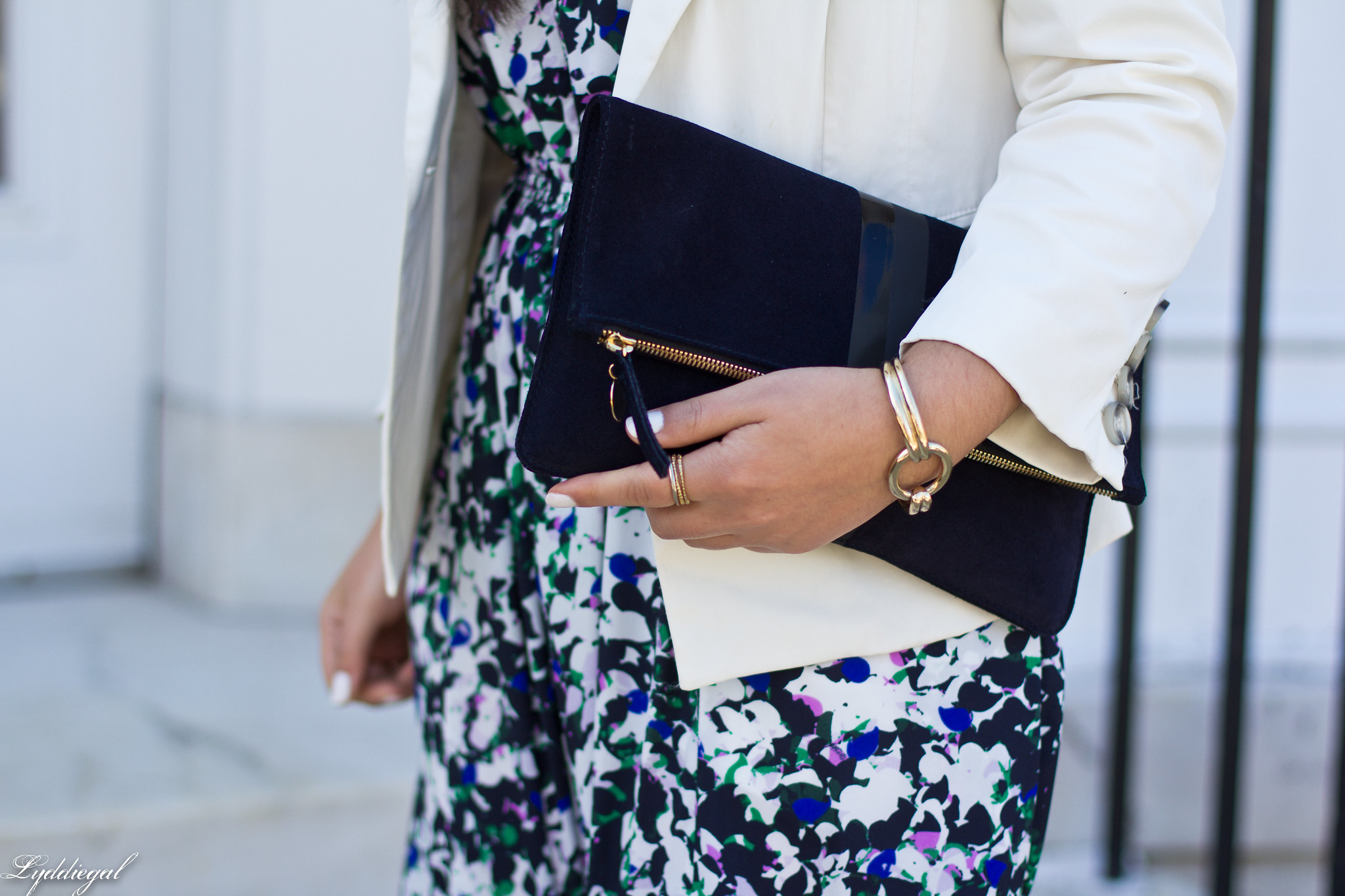 floral maxi dress, white blazer, green flats, clare v clutch-8.jpg