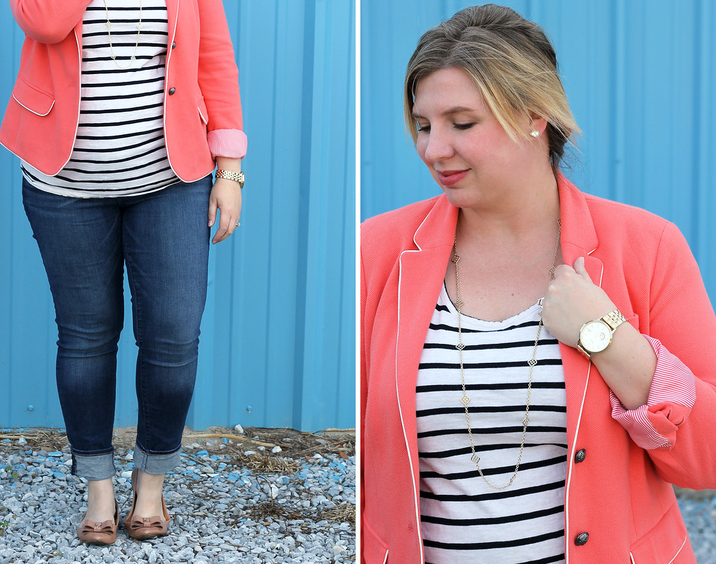 coral blazer, stripe tee and skinny jeans 1