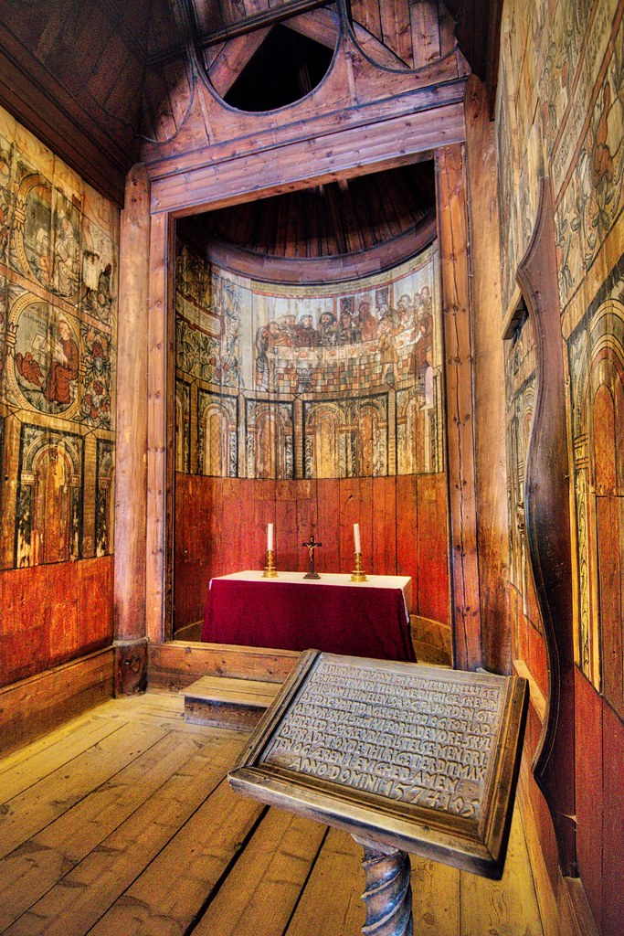 Inside Gol Stave Church