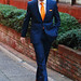 Blue Reiss suit and orange tie - over 40 menswear