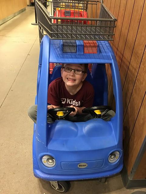 Big Kid in a Tiny Car Cart