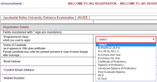 JNU University Registration 2017