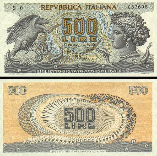 500 Lír Taliansko 1966, P93a
