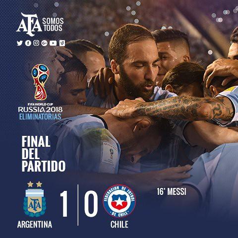 Mundial Rusia 2018 (Clasificación): Argentina 1 - Chile 0