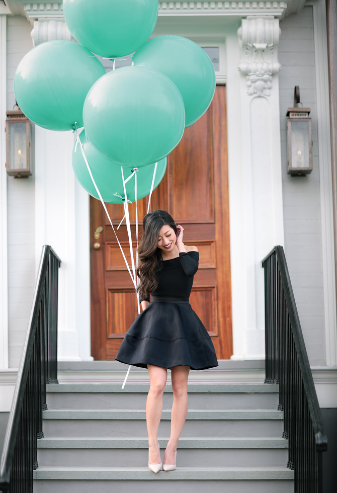 little black dress mint green balloons