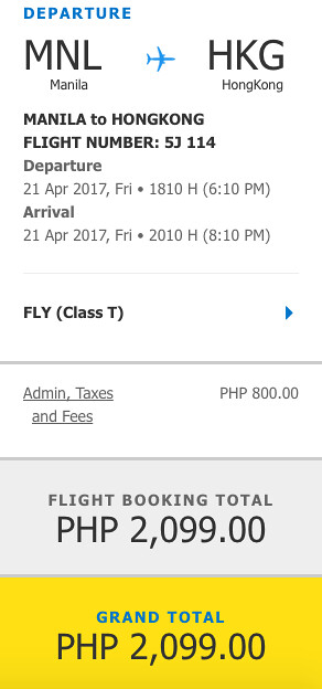 Cebu Pacific Air Sale Manila to Hong Kong