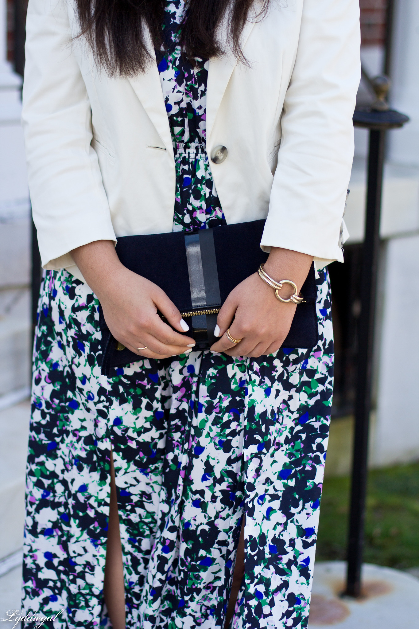 floral maxi dress, white blazer, green flats, clare v clutch-5.jpg