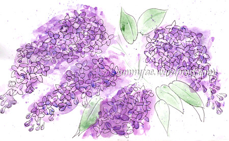 splattered lilac flowers and fine liner