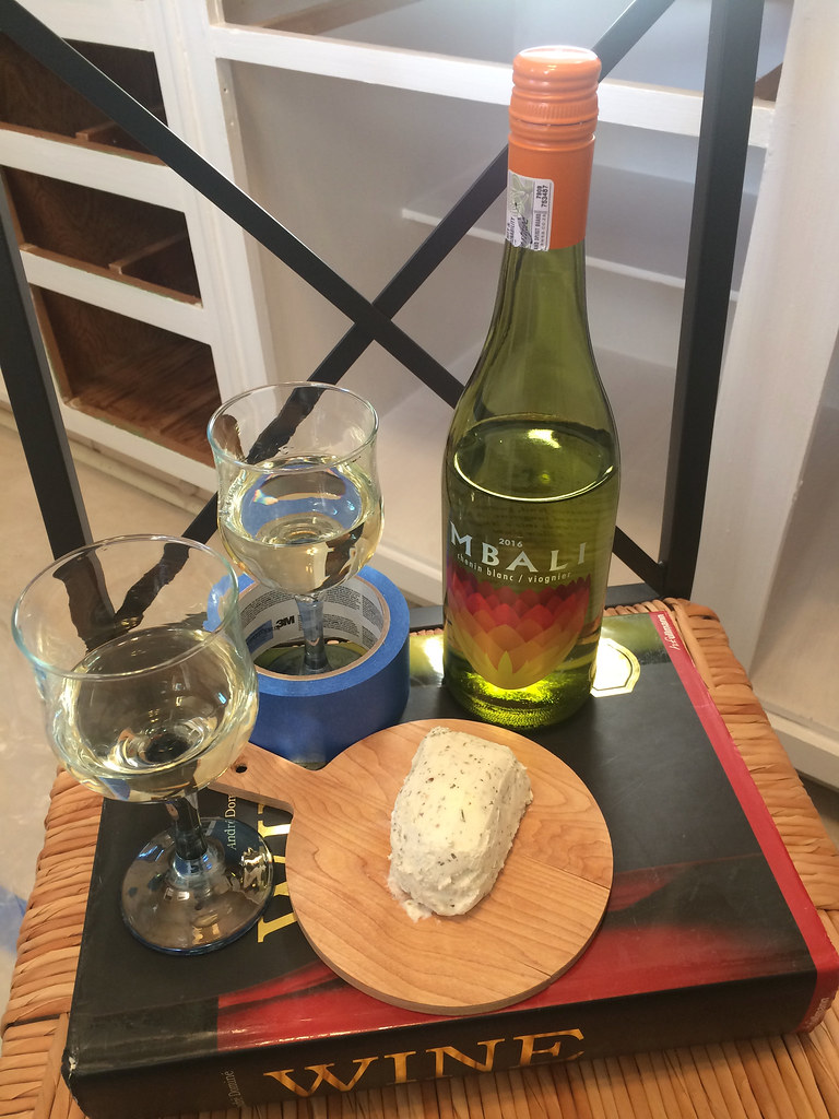 Mbali Chenin Blanc/Viognier and Silver Goat Herbed Goat Cheese 1