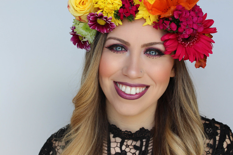 Metallic Purple and Pink Festival Style Makeup Tutorial Flower Crown Coachella
