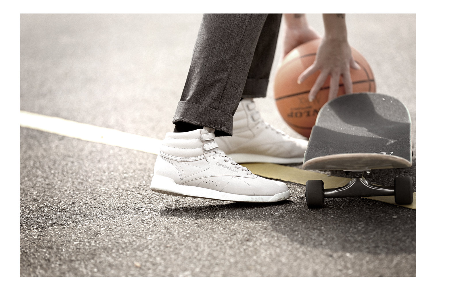 outfit reebok classics face stockholm sneakers hi rise basketball sports skateboard grey suit outfit business casual sporty look lookbook magentaskateboards titus düsseldorf ricarda schernus modeblogger nrw photography playground 4