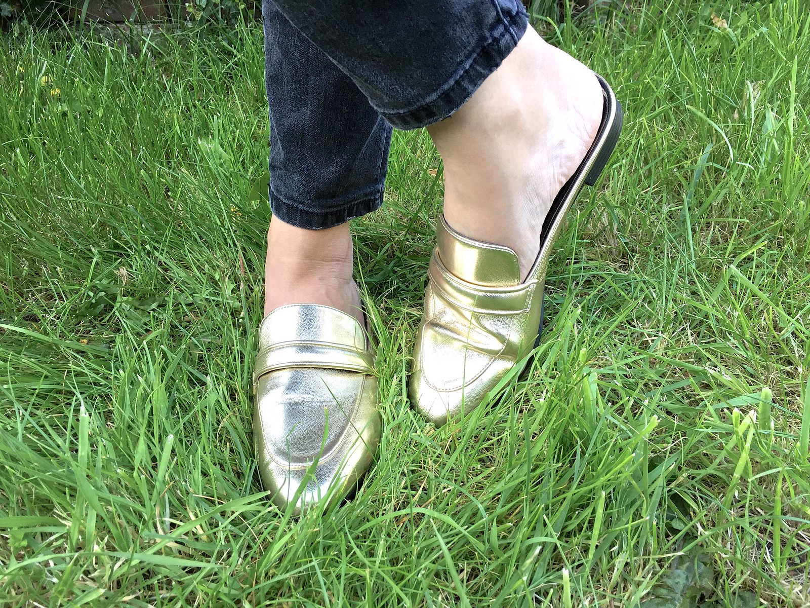 slip on gold loafers