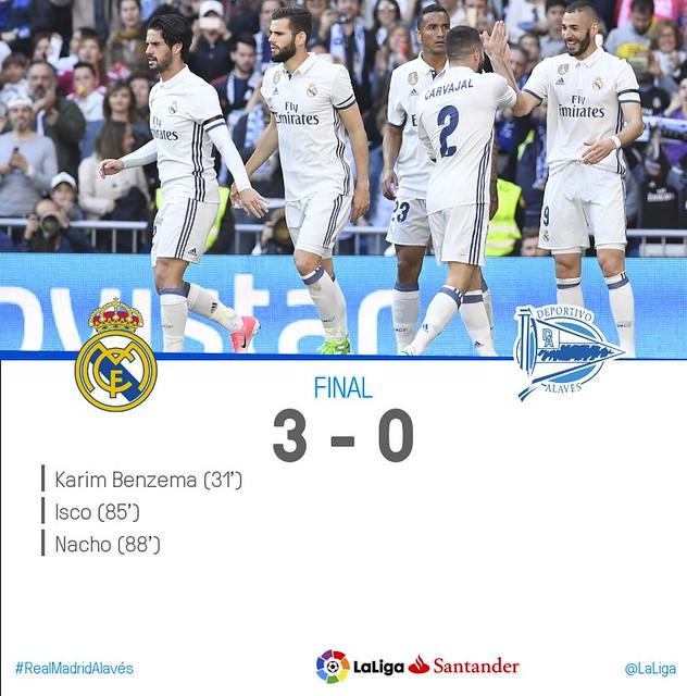 La Liga (Jornada 29): Real Madrid 3 - Deportivo Alavés 0