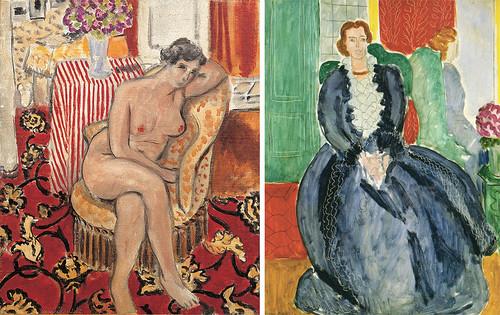 左)アンリ・マティス《肘掛椅子の裸婦》(1920年、DIC川村記念美術館 右)アンリ・マティス《鏡の前の青いドレス》(1937年、京都国立近代美術館蔵)