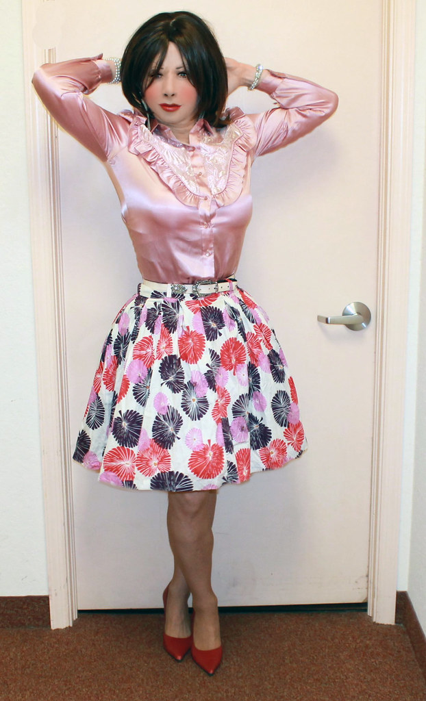 Kathy Leigh:I love this satin blouse with this skirt. What ...