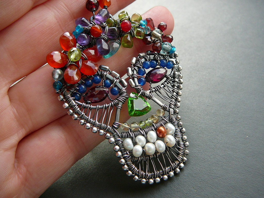 Day of the Dead sugar skull wire wrapped necklace | Day of t… | Flickr