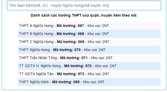 Danh sach ma truong THPT nam 2017