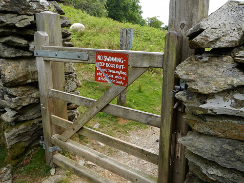 The gateway through the stone fence on the Precipice Walk in Dongellau, Wales