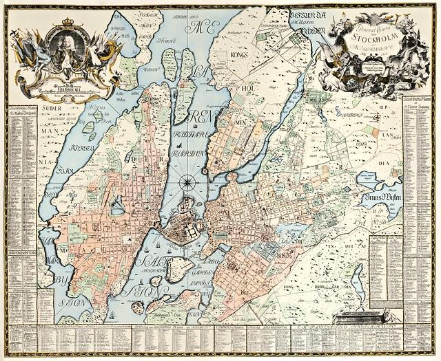 Petrus Tillaeus - General Charta öfwer Stockholm med Malmarne Åhr (1733)