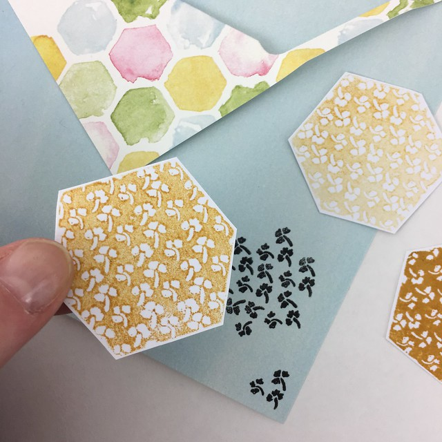 StickerKitten Bee Garden stamp set - floral hexagon and ditsy floral designs