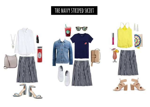 3 ways to wear navy striped skirt | Style On Target