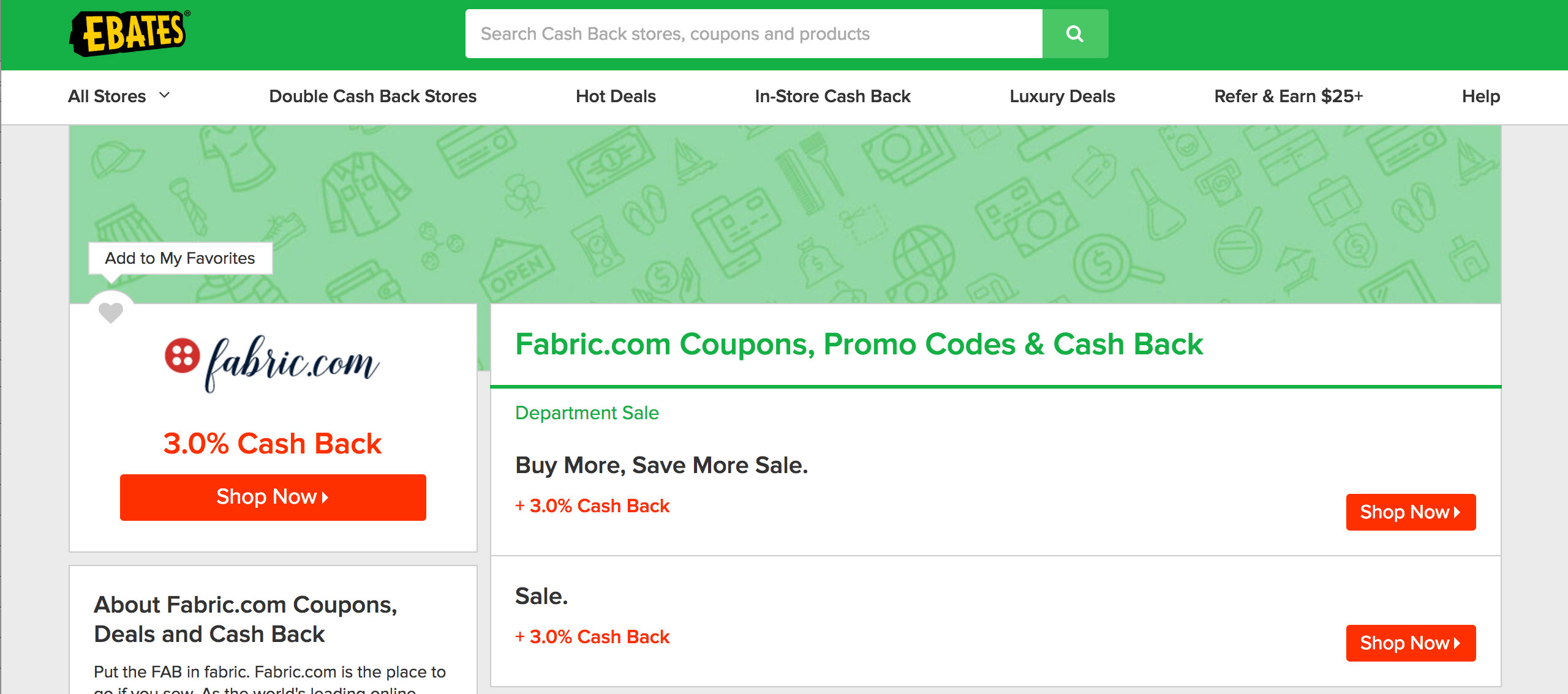 Mr Rebates Ebates Get Cash Back When You Buy Fabric Online