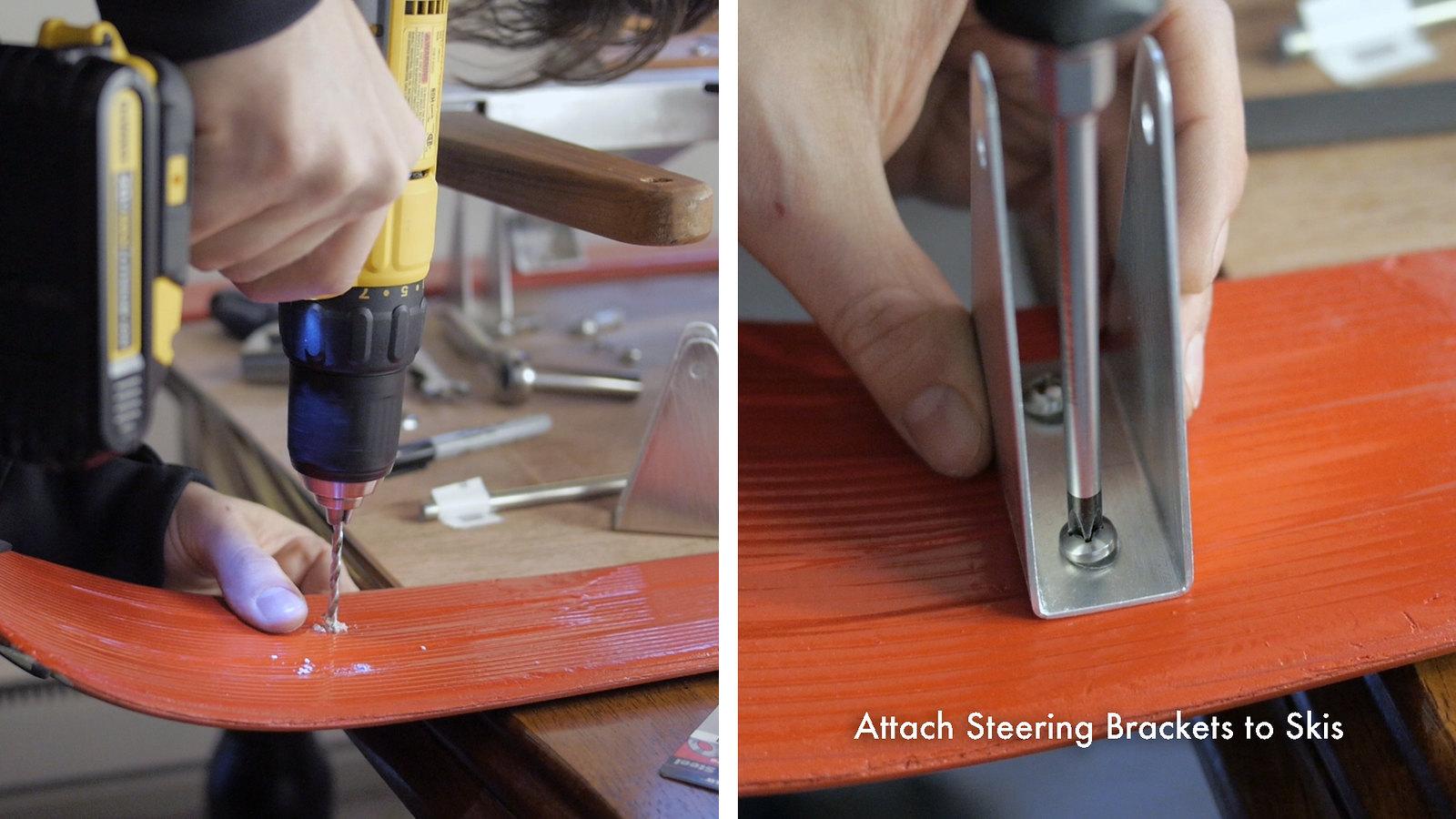 Attach Steering Bracket to Skis