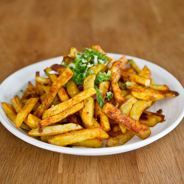 Baked Fries with Curry Miso Chili