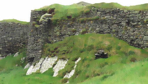 Stone wall at Galley Head in Ireland run though the photo app Sketch Guru 'Gouache'