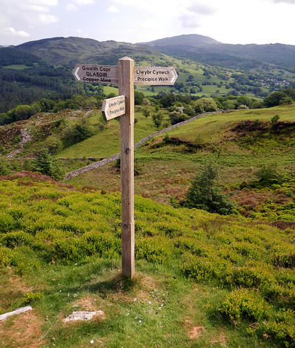 A footpath sign on the Precipice Walk in Dongellau, Wales
