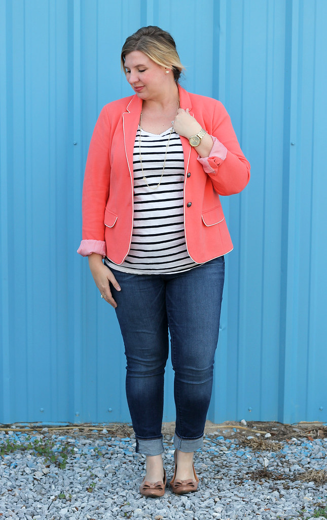 coral blazer, stripe tee and skinny jeans 5