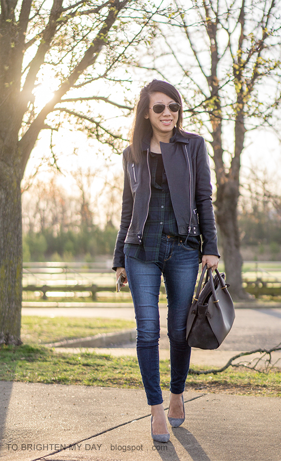 black leather jacket, black watch plaid button up shirt, gray tote, skinny jeans, gray suede pumps