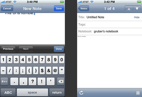 Evernote for iPhone | by gruber