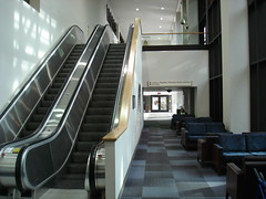 Hospital lobby escalator