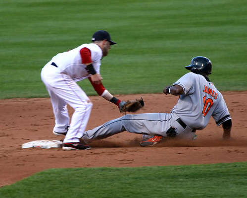 Jones vs. Pedroia, applying the tag | by Boston Wolverine
