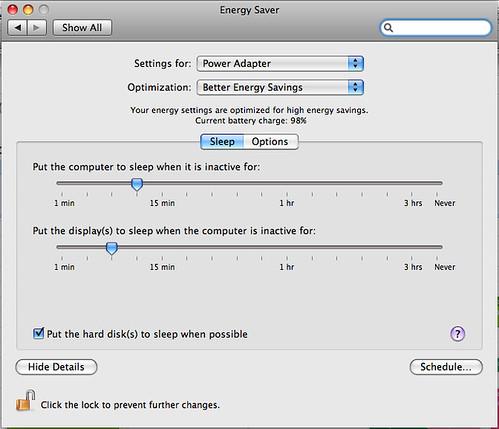 Mac os x energy saver the mac os x energy saver control for Cuisine 3d mac os x
