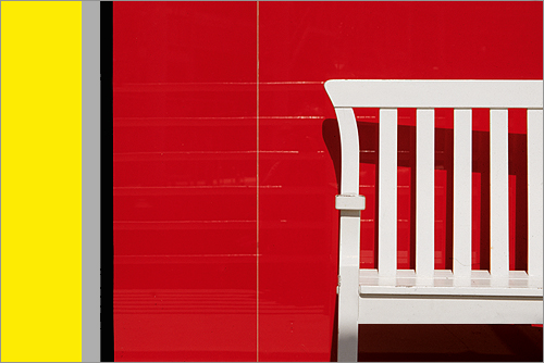 ... Red Wall   White Chair   Yellow Stripe / Red / White / Yellow / Gray