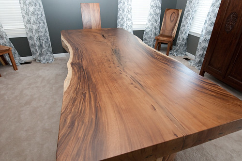 Natural Edge Timber Dining Table: $4400 - 7000 2 - 3m (l) X 1m (w) X 10cm