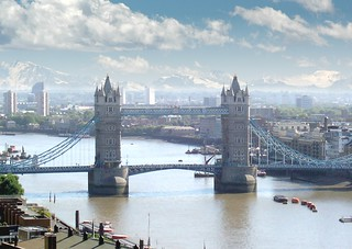 Tower Bridge with snowcapped mountains in the background | by patrick_london