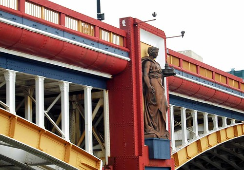 Vauxhall Bridge bronze statue of 'Architeture' holding a model of St Paul's Cathedral | by maggie jones.