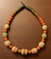 African crochet necklace with colored buttons | by Julia Kolbaskina