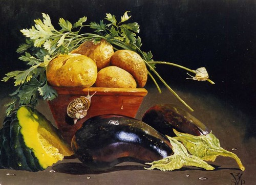 Still life with potatos and aubergine | by Suzi Vogel artist