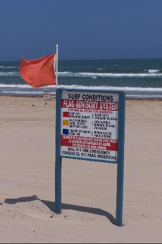 Red Flag On South Padre Island Beach