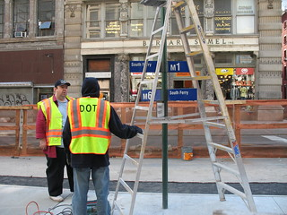 Installing a new Bus Stop sign in New York City, 05/04/07 | by Gary Dunaier
