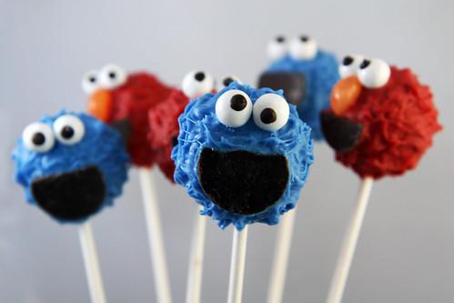 Elmo Cookie Monster Cake Pops