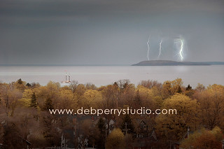 Lightning storm on Grand Traverse West Bay | by Deb Perry Studio