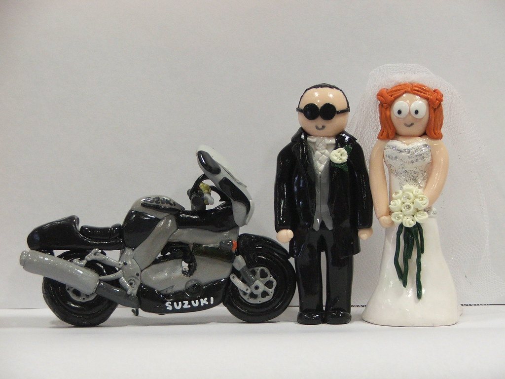 South Park Bride And Groom Wedding Cake Toppers With Motorbike