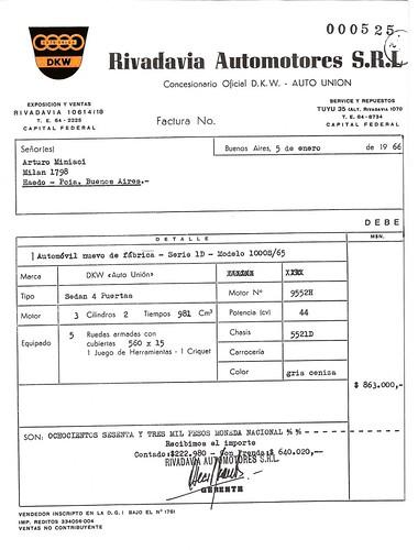 FACTURA DE COMPRA OKM 1966 ORIGINAL | Cuando pude hacer la ...
