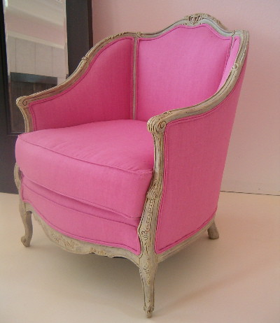 REWORKED ANTIQUE FRENCH PINK CHAIR | by thevintagelaundress